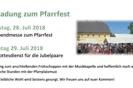 Einladung zum Pfarrfest am 29. Juli 2018